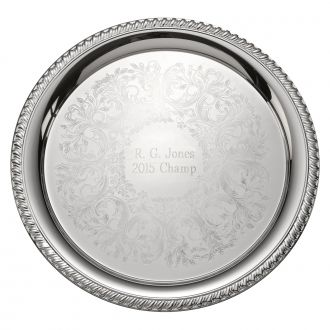 EMBOSSED SILVERPLATED TRAY WITH GADROON STYLE BORDER, 12