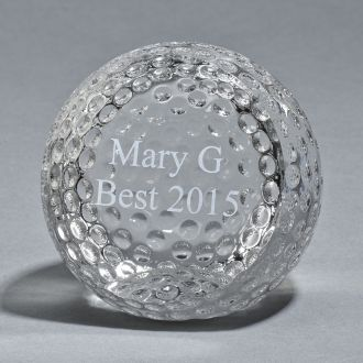 GLASS GOLF BALL SHAPED PAPERWEIGHT, 3.75