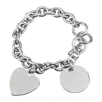 Stainless Steel Charm Bracelet w/Heart & Disk Charms, 8