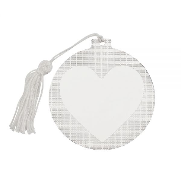 Ball Ornament with Heart Center and White Tassel, 3.5