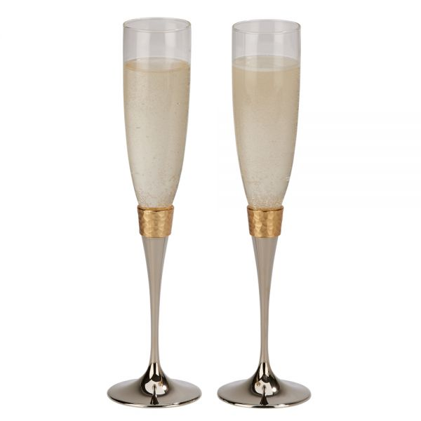 Hammered Gold Banded Flutes, Pair 10.5