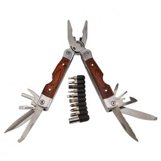 Wood Handle Stainless Steel Multi Function Tool w/Bits, 7