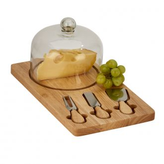 Cheese Dome with Rubberwood Board and 3 utensils, 14.25