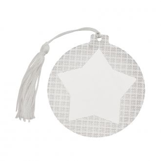 Ball Ornament with Star Center and White Tassel, 3.5