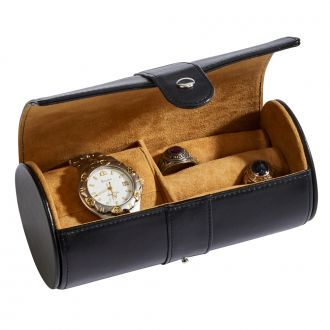 Black Leather Round Jewelry Case 6