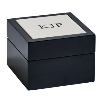 Black Wood Box w/Tile Top, 5