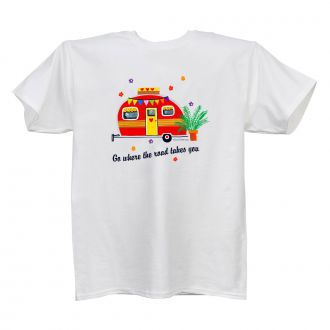 Where the Road . . . (camper) - Ladies' White T - LARGE
