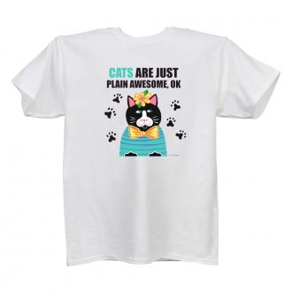 Cats . . . Awesome - Ladies' White T - LARGE