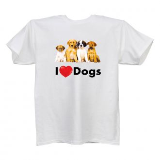 I Love (heart) Dogs - White T Shirt - SMALL