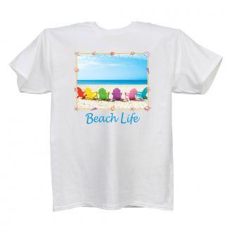 Beach Life - White T Shirt - SMALL