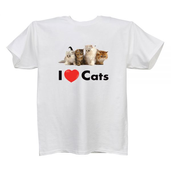 I Love (Heart) Cats White T