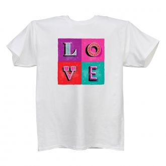 LOVE (in 4 blocks) - Ladies' White T - LARGE