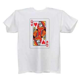 Queen of Hearts - Ladies' White T - LARGE
