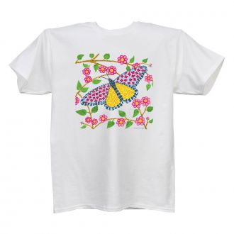 Butterfly Design - Ladies' White T - X LG