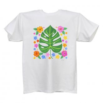 Tropical Leaf with Multi Flowers - Ladies' White T - LARGE