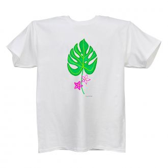 Tropical Leaf with 2 Flowers - Ladies' White T - LARGE