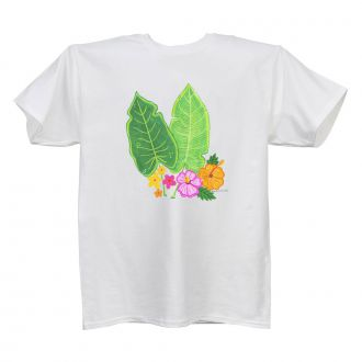 Two Tropical Leaves & Multi Flowers - Ladies' White T - LARGE