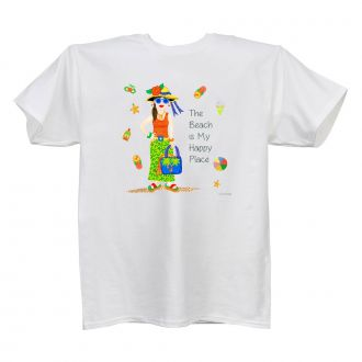 Beach . . .Happy Place - Ladies' White T - SMALL