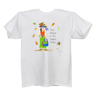 Beach . . .Happy Place - Ladies' White T - LARGE
