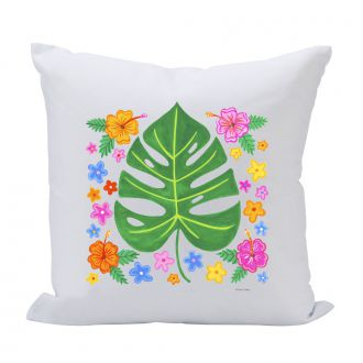 Tropical Leaf with Multi Flowers - 16