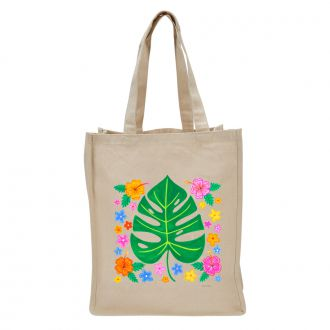 Tropical Leaf with Multi Flowers - Tote Bag
