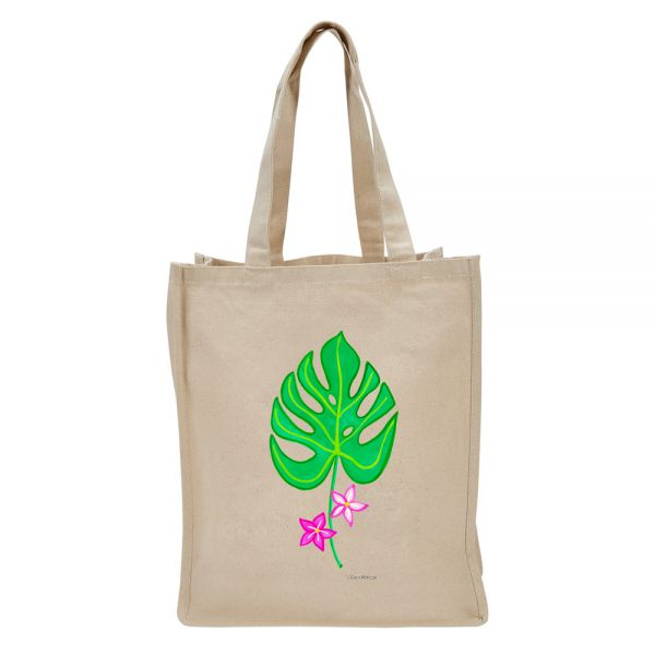 Tropical Leaf with 2 Flowers - Tote Bag