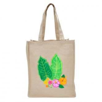 Two Tropical Leaves & Multi Flowers - Tote Bag