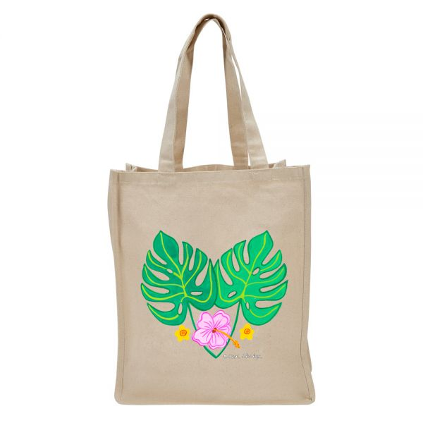 2 Tropical Leaves and 3 Flowers - Tote Bag