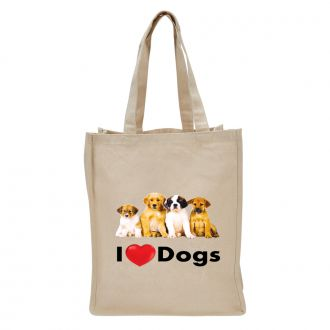 I Love (heart) Dogs - Tote Bag