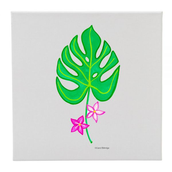 Tropical Leaf with 2 Flowers - 12