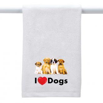 I Love (heart) Dogs - Hand Towel