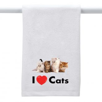 I Love (heart) Cats - Hand Towel