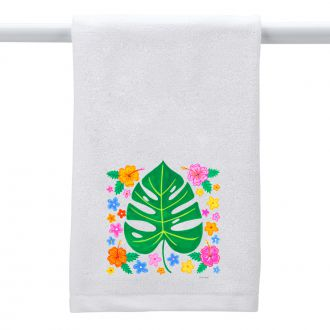 Tropical Leaf with Multi Flowers - Hand Towel