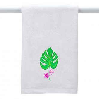 Tropical Leaf with 2 Flowers - Hand Towel