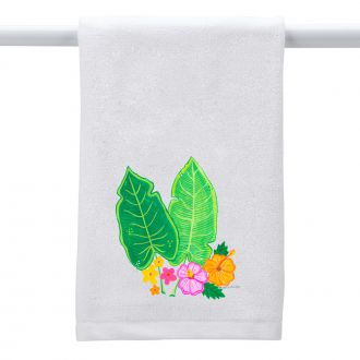 Two Tropical Leaves & Multi Flowers - Hand Towel
