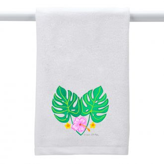 2 Tropical Leaves and 3 Flowers - Hand Towel