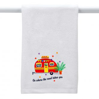 Where the Road . . . (camper) - Hand Towel