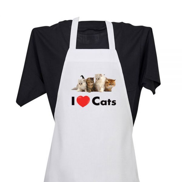 I Love (heart) Cats - Apron
