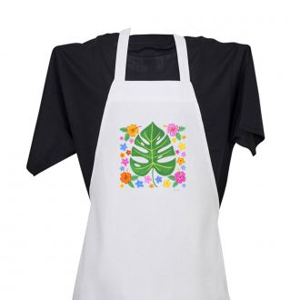 Tropical Leaf with Multi Flowers - Apron