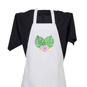 2 Tropical Leaves and 3 Flowers - Apron