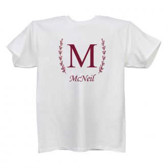 Single Letter (with family name) - White T Shirt - SMALL
