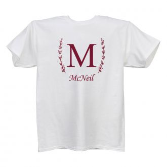 Single Letter (with family name) - Ladies' White T - LARGE