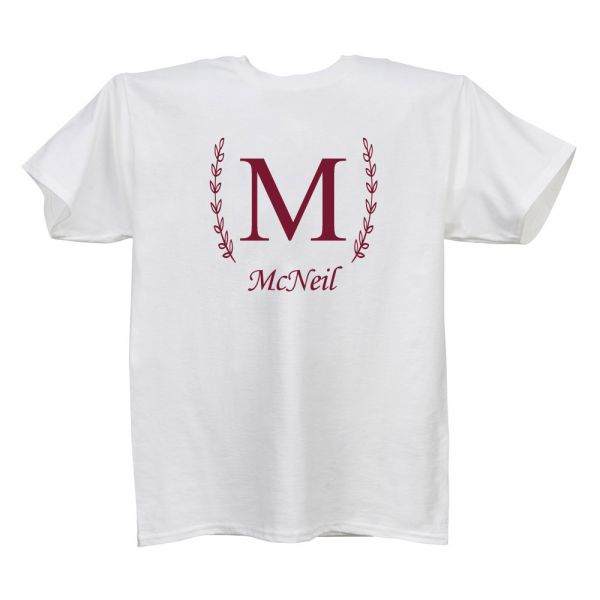 Single Letter/Family Name White T Ladies
