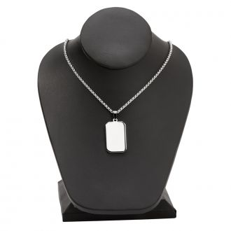 Stainless Steel Rectangle Necklace 1.25
