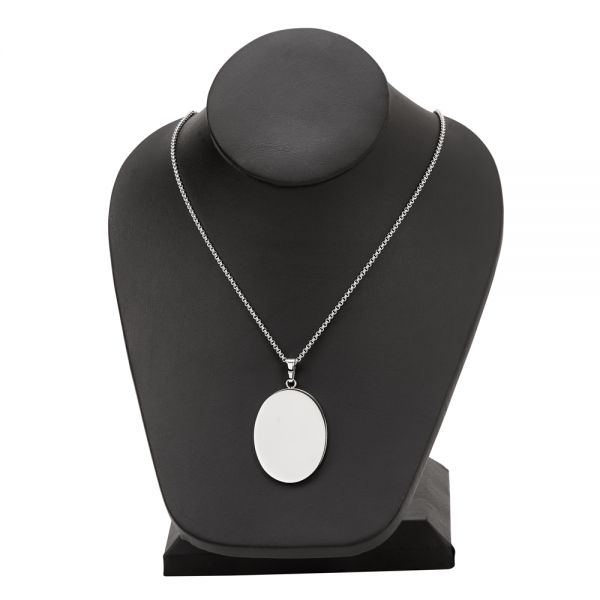 Stainless Steel Oval Necklace 1.5