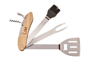 Folding BBQ Tools w/Wood Handle, 20
