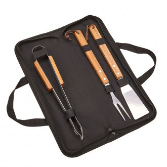 3 Pc BBQ Set w/Wood Handles, Black Pouch