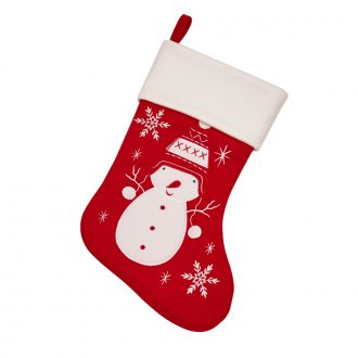 Christmas Stocking Snowman w/Snowflakes