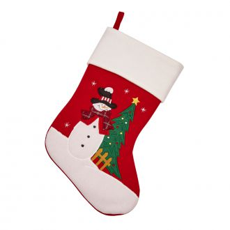 Christmas Stocking Snowman w/Holiday Tree