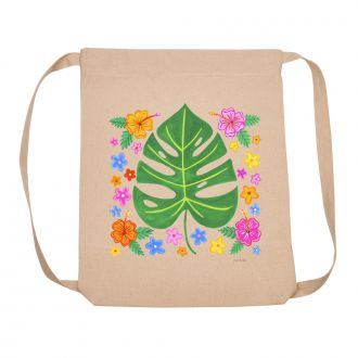 Tropical Leaf with Multi Flowers - Backpack